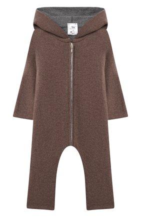 Детский кашемировый комбинезон WOOL&COTTON коричневого цвета, арт. KMLBR   Фото 1 (Материал внешний: Шерсть, Кашемир; Рукава: Длинные; Ростовка одежда: 6 мес   68 см)