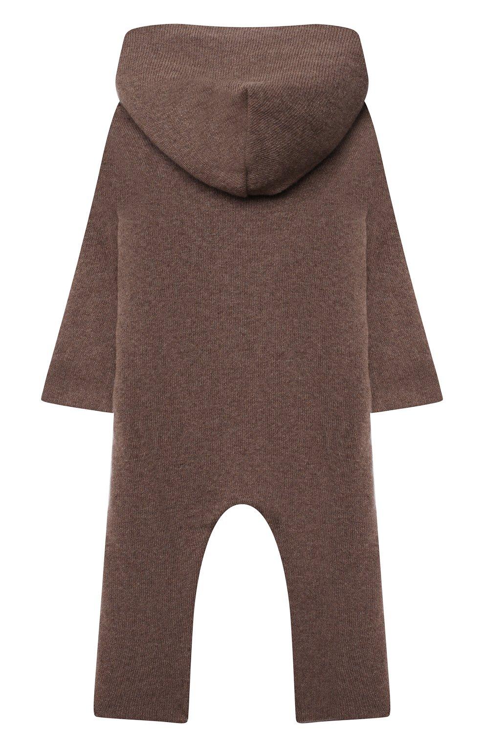 Детский кашемировый комбинезон WOOL&COTTON коричневого цвета, арт. KMLBR   Фото 2 (Материал внешний: Шерсть, Кашемир; Рукава: Длинные; Ростовка одежда: 6 мес   68 см)