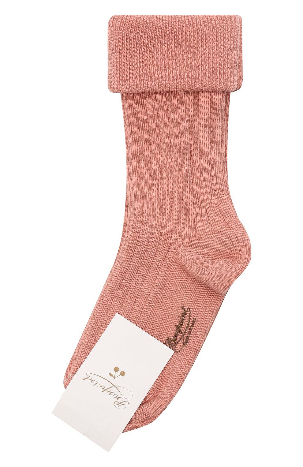 Детские хлопковые носки BONPOINT розового цвета, арт. H20BGICOTFIF(023)_823540   Фото 1 (Материал: Текстиль, Хлопок)