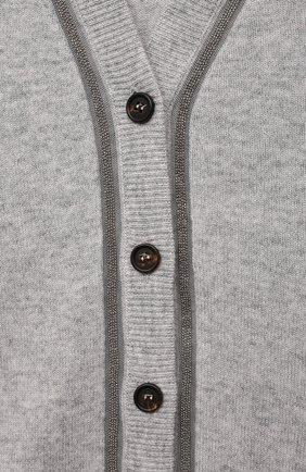 Детский кашемировый кардиган BRUNELLO CUCINELLI серого цвета, арт. B12M10506C   Фото 3