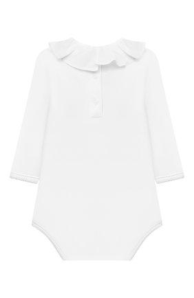 Детское хлопковое боди BONPOINT белого цвета, арт. S01XUNKN0201(151D)_843048 | Фото 2 (Материал внешний: Хлопок; Рукава: Длинные; Ростовка одежда: 0 - 3 мес | 50 - 60 см)