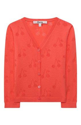 Детский хлопковый кардиган BONPOINT кораллового цвета, арт. S01XCAKN0401(051D)_843274   Фото 1 (Материал внешний: Хлопок; Рукава: Длинные; Ростовка одежда: 12 мес   80 см)