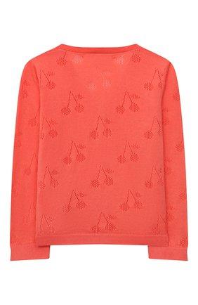 Детский хлопковый кардиган BONPOINT кораллового цвета, арт. S01XCAKN0401(051D)_843274   Фото 2 (Материал внешний: Хлопок; Рукава: Длинные; Ростовка одежда: 12 мес   80 см)