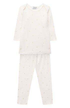 Детский хлопковая пижама BONPOINT белого цвета, арт. PEBTI2318EN(632)_494337   Фото 1