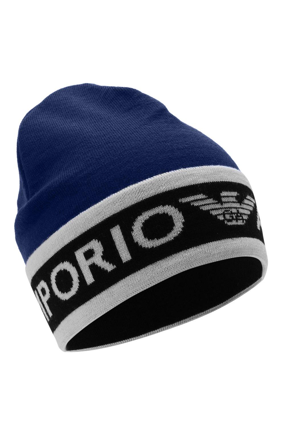 Детского шерстяная шапка EMPORIO ARMANI синего цвета, арт. 404648/1A494   Фото 1 (Материал: Шерсть)