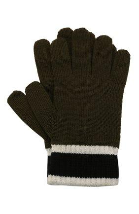 Детские шерстяные перчатки EMPORIO ARMANI хаки цвета, арт. 404638/1A494 | Фото 1