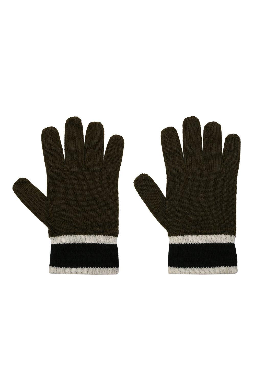 Детские шерстяные перчатки EMPORIO ARMANI хаки цвета, арт. 404638/1A494 | Фото 2