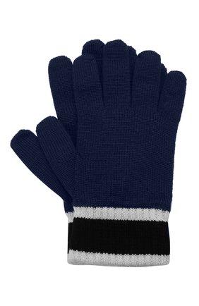 Детские шерстяные перчатки EMPORIO ARMANI синего цвета, арт. 404638/1A494 | Фото 1