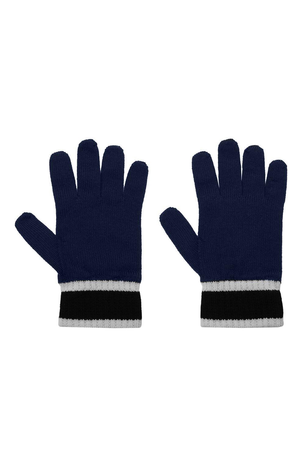 Детские шерстяные перчатки EMPORIO ARMANI синего цвета, арт. 404638/1A494 | Фото 2