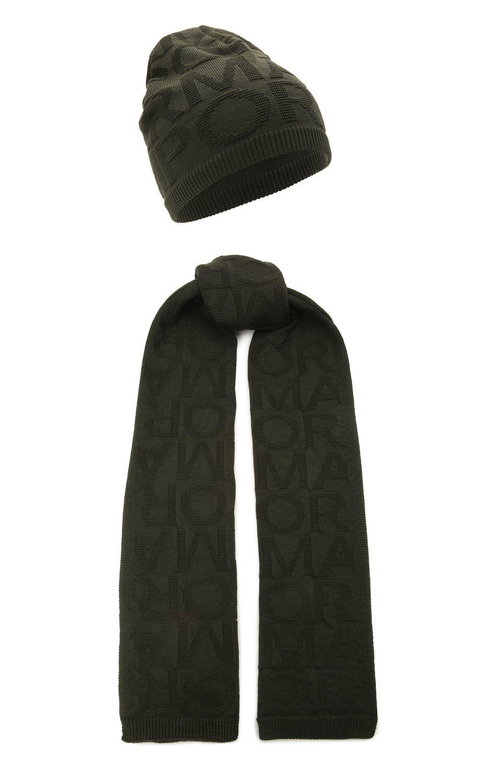 Детский комплект из шапки и шарфа EMPORIO ARMANI хаки цвета, арт. 407512/1A762 | Фото 1 (Материал: Текстиль, Шерсть, Синтетический материал)