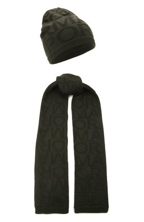 Детский комплект из шапки и шарфа EMPORIO ARMANI хаки цвета, арт. 407512/1A762 | Фото 1
