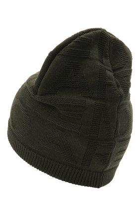 Детский комплект из шапки и шарфа EMPORIO ARMANI хаки цвета, арт. 407512/1A762 | Фото 3 (Материал: Текстиль, Шерсть, Синтетический материал)