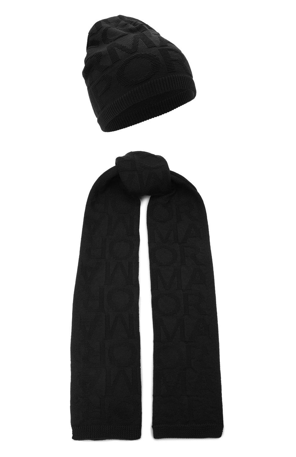 Детский комплект из шапки и шарфа EMPORIO ARMANI черного цвета, арт. 407512/1A762 | Фото 1 (Материал: Текстиль, Шерсть, Синтетический материал)
