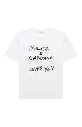 Детская хлопковая футболка DOLCE & GABBANA белого цвета, арт. L5JTAZ/G7XEA/8-14 | Фото 1