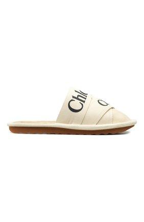 Женского домашние туфли из замши CHLOÉ кремвого цвета, арт. C21A489/R4   Фото 1