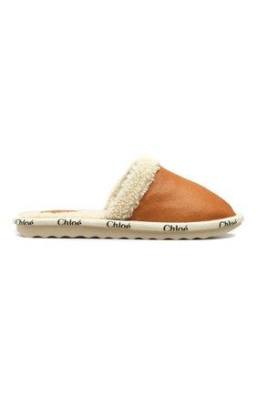 Женского домашние туфли CHLOÉ коричневого цвета, арт. C21A487/S8   Фото 1