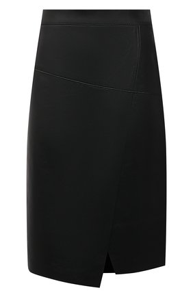 Женская кожаная юбка BOSS черного цвета, арт. 50453185   Фото 1