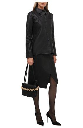 Женская кожаная юбка BOSS черного цвета, арт. 50453185   Фото 2