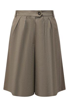 Женские шорты изо льна и хлопка LESYANEBO серого цвета, арт. SS21/Н-469/L | Фото 1 (Материал подклада: Вискоза; Длина Ж (юбки, платья, шорты): Миди; Стили: Романтичный; Кросс-КТ: Широкие; Материал внешний: Хлопок)