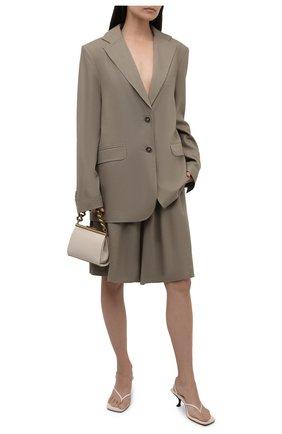 Женские шорты изо льна и хлопка LESYANEBO серого цвета, арт. SS21/Н-469/L | Фото 2 (Материал подклада: Вискоза; Длина Ж (юбки, платья, шорты): Миди; Стили: Романтичный; Кросс-КТ: Широкие; Материал внешний: Хлопок)