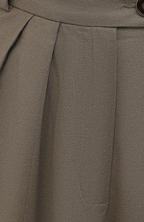 Женские шорты изо льна и хлопка LESYANEBO серого цвета, арт. SS21/Н-469/L   Фото 5 (Кросс-КТ: Широкие; Материал внешний: Хлопок; Длина Ж (юбки, платья, шорты): Миди; Материал подклада: Вискоза; Стили: Романтичный)