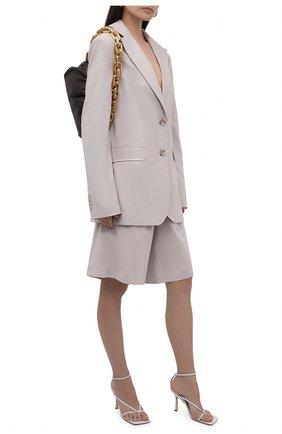 Женские шорты изо льна и хлопка LESYANEBO зеленого цвета, арт. SS21/Н-469/L | Фото 2 (Материал подклада: Вискоза; Стили: Романтичный; Длина Ж (юбки, платья, шорты): Миди; Кросс-КТ: Широкие; Материал внешний: Хлопок)