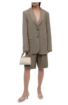 Женский жакет изо льна и хлопка LESYANEBO серого цвета, арт. SS21/Н-468/L | Фото 2 (Материал подклада: Вискоза; Длина (для топов): Удлиненные; Рукава: Длинные; Стили: Романтичный; Случай: Повседневный; Женское Кросс-КТ: Жакет-одежда; 1-2-бортные: Однобортные; Материал внешний: Хлопок)