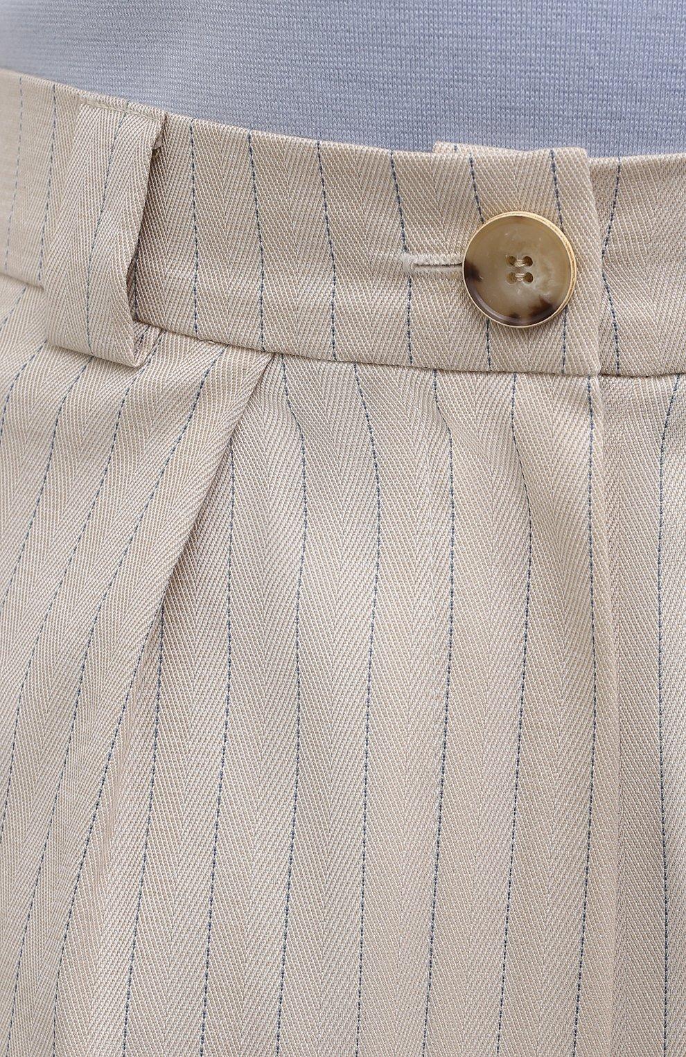 Женские хлопковые шорты LESYANEBO бежевого цвета, арт. SS21/Н-577 | Фото 5 (Кросс-КТ: Широкие; Материал внешний: Хлопок; Длина Ж (юбки, платья, шорты): Миди; Стили: Романтичный)