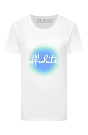 Женская хлопковая футболка OFF-WHITE белого цвета, арт. 0WAA049R21JER006 | Фото 1 (Длина (для топов): Стандартные; Рукава: Короткие; Материал внешний: Хлопок; Стили: Спорт-шик; Принт: С принтом; Женское Кросс-КТ: Футболка-одежда)
