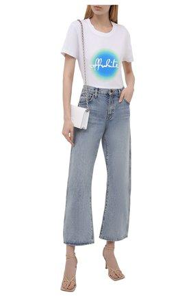 Женская хлопковая футболка OFF-WHITE белого цвета, арт. 0WAA049R21JER006 | Фото 2 (Длина (для топов): Стандартные; Рукава: Короткие; Материал внешний: Хлопок; Стили: Спорт-шик; Принт: С принтом; Женское Кросс-КТ: Футболка-одежда)