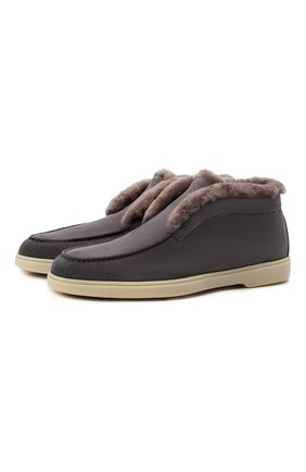 Женские замшевые ботинки SANTONI серого цвета, арт. WUYA58457TISAYHFG80 | Фото 1