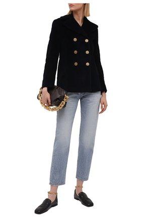 Женский хлопковый жакет REDVALENTINO темно-синего цвета, арт. WR3CID40/5YD   Фото 2 (Длина (для топов): Стандартные; Материал внешний: Хлопок; Случай: Повседневный; Женское Кросс-КТ: Жакет-одежда; Материал подклада: Синтетический материал; Рукава: Длинные; 1-2-бортные: Двубортные; Стили: Гламурный)