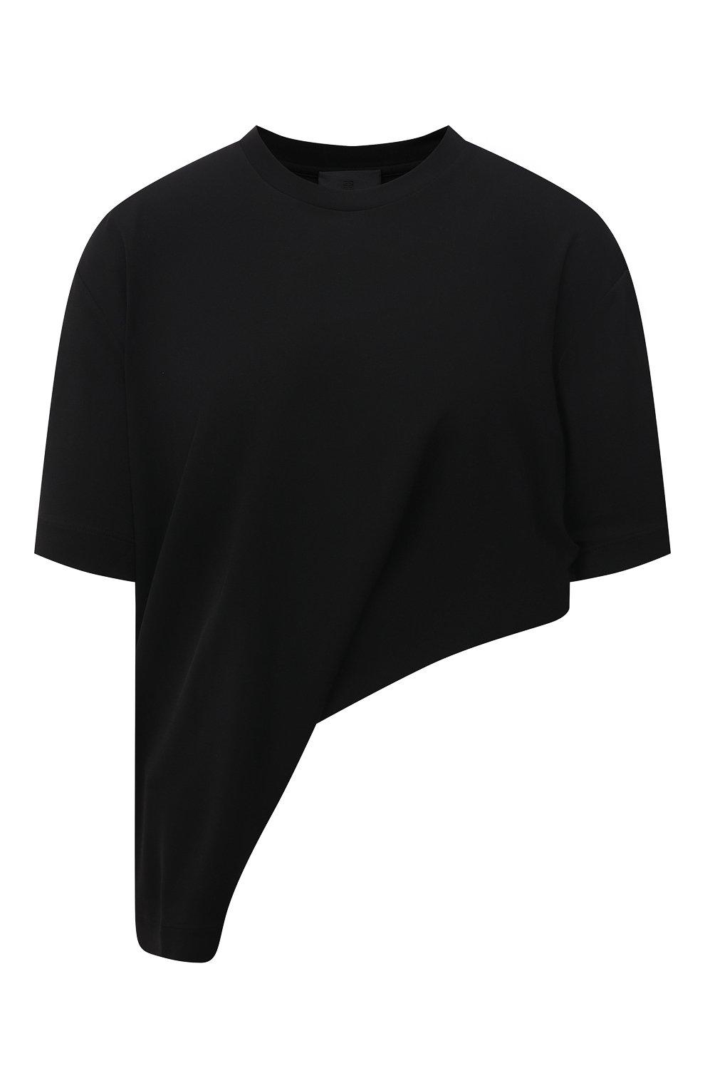 Женская футболка из вискозы GIVENCHY черного цвета, арт. BW60U93047   Фото 1 (Принт: Без принта; Рукава: Короткие; Длина (для топов): Стандартные, Укороченные; Стили: Спорт-шик; Женское Кросс-КТ: Футболка-одежда; Материал внешний: Вискоза)
