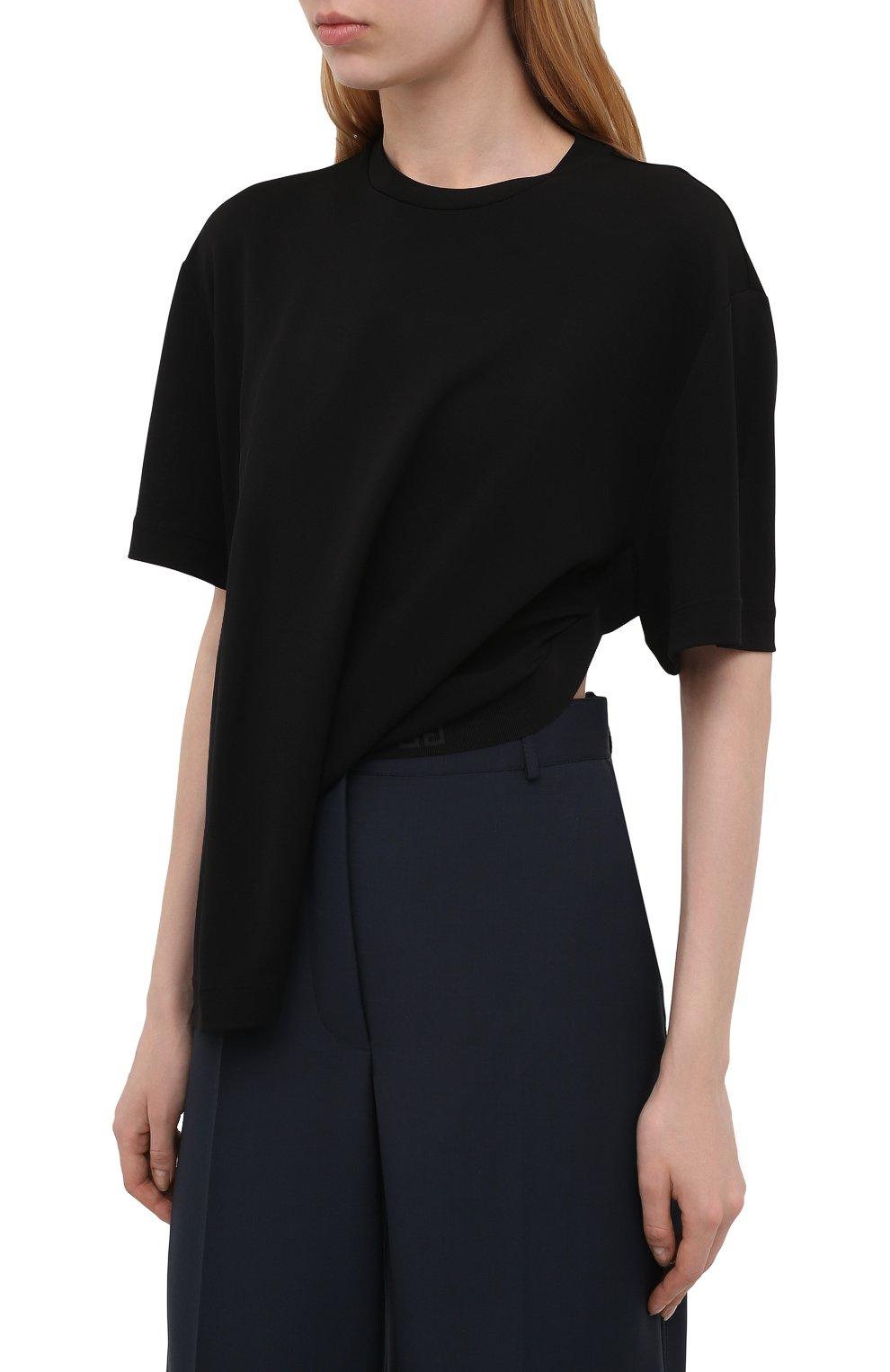 Женская футболка из вискозы GIVENCHY черного цвета, арт. BW60U93047   Фото 3 (Принт: Без принта; Рукава: Короткие; Длина (для топов): Стандартные, Укороченные; Стили: Спорт-шик; Женское Кросс-КТ: Футболка-одежда; Материал внешний: Вискоза)