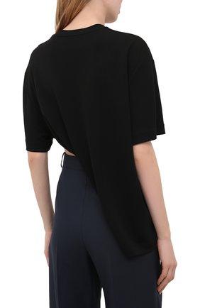 Женская футболка из вискозы GIVENCHY черного цвета, арт. BW60U93047   Фото 4 (Принт: Без принта; Рукава: Короткие; Длина (для топов): Стандартные, Укороченные; Стили: Спорт-шик; Женское Кросс-КТ: Футболка-одежда; Материал внешний: Вискоза)