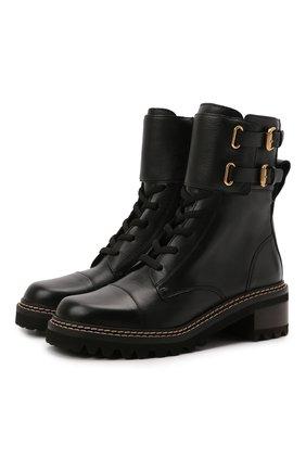 Женские кожаные ботинки mallory SEE BY CHLOÉ черного цвета, арт. SB33080A/14000 | Фото 1