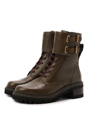 Женские кожаные ботинки mallory SEE BY CHLOÉ хаки цвета, арт. SB33080A/14003 | Фото 1
