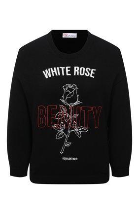 Женский пуловер REDVALENTINO черного цвета, арт. WR3KC08W/63H | Фото 1 (Рукава: 3/4; Материал внешний: Синтетический материал, Шерсть; Длина (для топов): Стандартные; Стили: Спорт-шик; Женское Кросс-КТ: Пуловер-одежда)