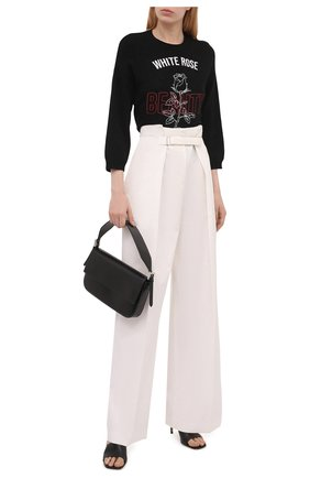 Женский пуловер REDVALENTINO черного цвета, арт. WR3KC08W/63H | Фото 2 (Рукава: 3/4; Материал внешний: Синтетический материал, Шерсть; Длина (для топов): Стандартные; Стили: Спорт-шик; Женское Кросс-КТ: Пуловер-одежда)