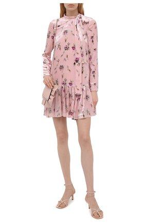 Женское платье из вискозы и шелка REDVALENTINO светло-розового цвета, арт. WR3VAAM5/601   Фото 2 (Случай: Повседневный; Рукава: Длинные; Женское Кросс-КТ: Платье-одежда; Стили: Романтичный; Длина Ж (юбки, платья, шорты): Мини; Материал внешний: Вискоза)