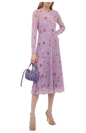 Женское платье REDVALENTINO сиреневого цвета, арт. WR3VAAR0/602 | Фото 2 (Материал внешний: Синтетический материал; Случай: Повседневный; Материал подклада: Синтетический материал; Рукава: Длинные; Женское Кросс-КТ: Платье-одежда; Длина Ж (юбки, платья, шорты): Миди; Стили: Романтичный)