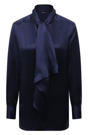 Женская шелковая блузка KITON синего цвета, арт. D50411K03337   Фото 1
