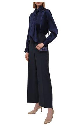 Женская шелковая блузка KITON синего цвета, арт. D50411K03337   Фото 2