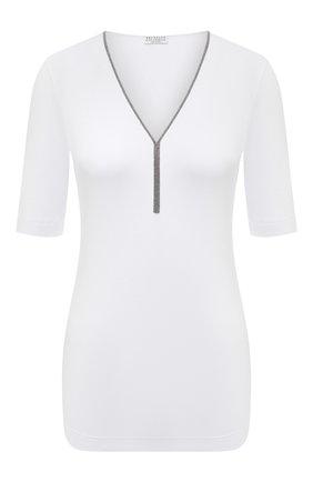 Женский хлопковый пуловер BRUNELLO CUCINELLI белого цвета, арт. M0TC8BY212 | Фото 1 (Материал внешний: Хлопок; Длина (для топов): Стандартные; Стили: Кэжуэл; Женское Кросс-КТ: Пуловер-одежда; Рукава: Короткие)