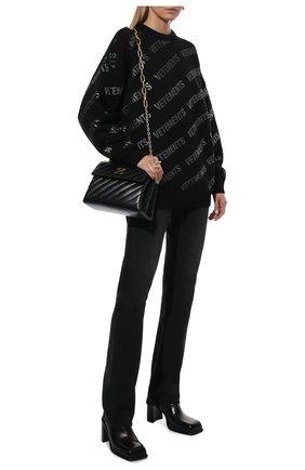 Женский шерстяной свитер VETEMENTS черного цвета, арт. UA52KN650B 2901/W   Фото 2