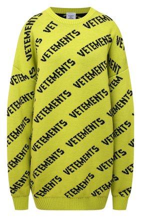 Женский шерстяной свитер VETEMENTS желтого цвета, арт. UA52KN600Y 2901/W | Фото 1