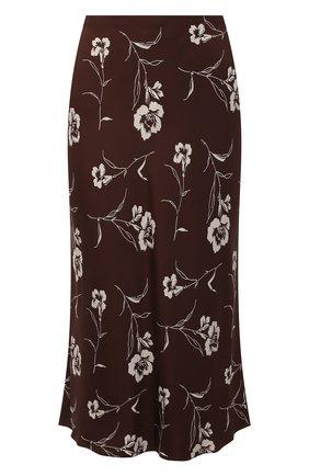 Женская шелковая юбка RALPH LAUREN коричневого цвета, арт. 290840903 | Фото 1 (Материал внешний: Шелк; Длина Ж (юбки, платья, шорты): Миди; Стили: Кэжуэл; Женское Кросс-КТ: Юбка-одежда)