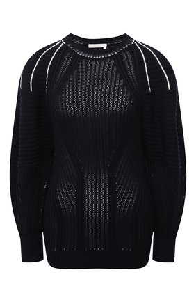 Женский пуловер из хлопка и вискозы CHLOÉ темно-синего цвета, арт. CHC21AMP20620 | Фото 1