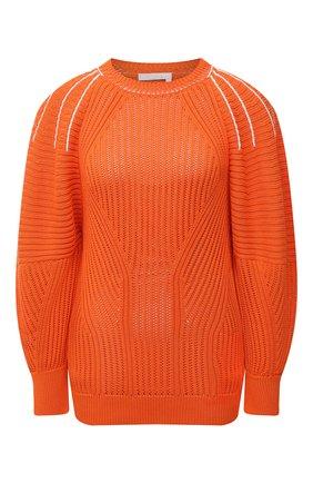Женский пуловер из хлопка и вискозы CHLOÉ оранжевого цвета, арт. CHC21AMP20620   Фото 1