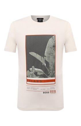 Мужская хлопковая футболка BOSS белого цвета, арт. 50453117 | Фото 1